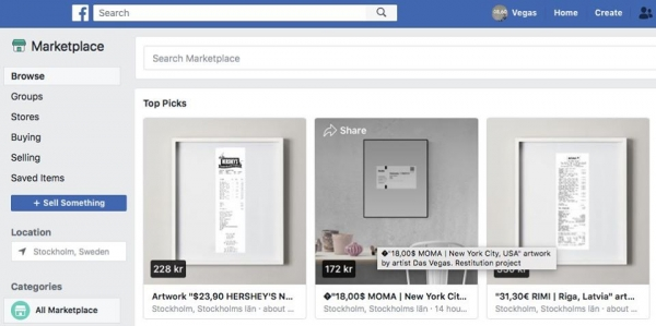 FB Marketplace artworks on sale